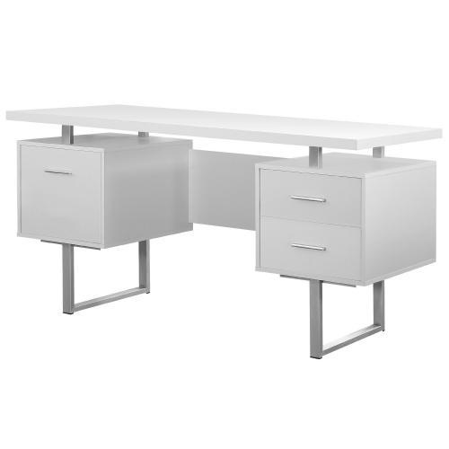 Monarch Computer Desk 60l White Silver Metal