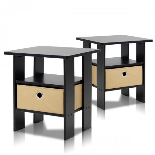23f888e3d297 Furinno Petite End Table Bedroom Night Stand, Set of Two / TradePongo