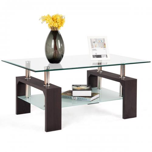 59a15539ec9e Costway Rectangular Tempered Glass Coffee Table / TradePongo