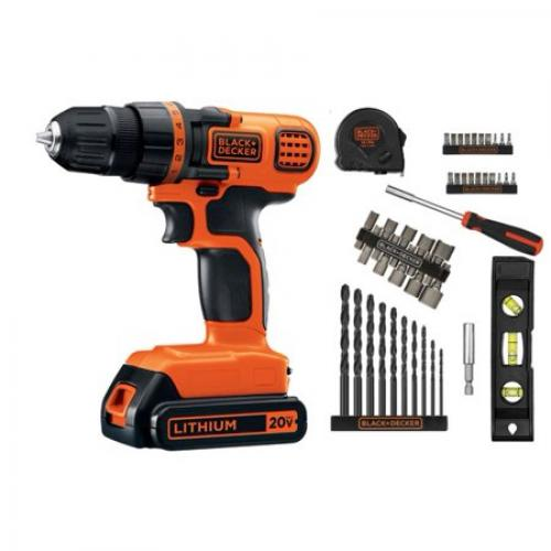BLACK+DECKER 20-Volt MAX Lithium Ion Cordless Drill with 44-Piece Project Kit