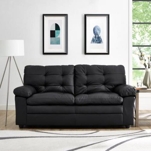 Mainstays Faux Leather Buchannan Apartment Sofa, Black / TradePongo