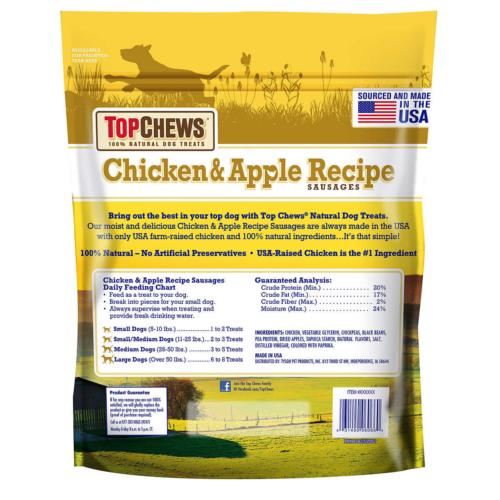 #1 Top Chews Chicken & Apple Recipe 2.5 Lbs 100% Natural Sausage Dog Treats