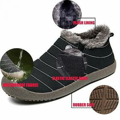 Waterproof Snow Sneakers Boots Fur Lined Ankle High-Top Outdoor Slip-on Booties