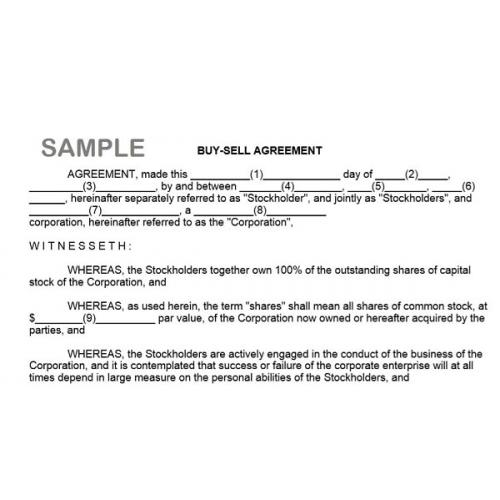 Buy Sell Agreement Form Instant Download Tradepongo